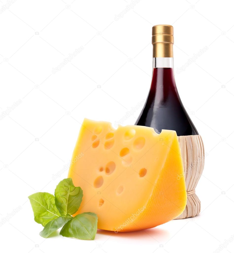Red wine bottle and  cheese still life isolated on white background cutout. Italian food concept. — Stock Photo #16903927