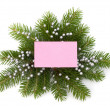 Christmas decoration with greeting card — Foto de Stock