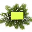 Christmas decoration with greeting card — Stock Photo