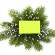 Christmas decoration with greeting card — Stockfoto