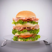 Fast food big sandwich on plate — Stock Photo