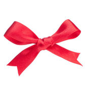 Festive red gift bow — Stockfoto