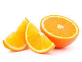 Orange fruit half and two segments or cantles — 图库照片