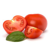 Tomato and basil leaf — Stock Photo