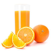 Juice glass and orange fruit — Stock Photo