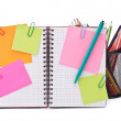 Stock Photo: Blank checked notebook with notice papers