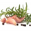 Garlic clove and rosemary leaf - Stock Photo