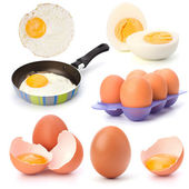 Raw, boiled and fried eggs — Stock Photo
