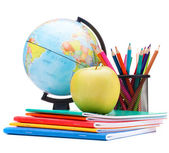 Globe, notebook stack and pencils. Schoolchild and student studi — Stock Photo