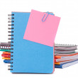 Blue notebook with notice papers — Stock Photo