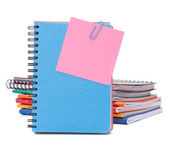 Blue notebook with notice papers — Foto Stock