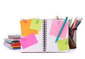 Blank checked notebook with notice papers — Foto de Stock