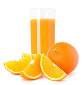 Sap glas en oranje fruit — Stockfoto