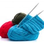 Woollen thread and knitting needle. Needlework accessories. — Stock Photo
