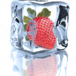 Strawberry chilled in Ice cube isolated on white background cuto — Stock Photo