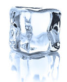 Ice cube, beyaz eller üzerinde izole — Stok fotoğraf