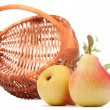 Royalty-Free Stock Photo: Pear fruit and wicker basket isolated on white background cutout