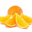 Whole orange fruit and his segments or cantles  — Stock Photo #28617671