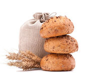 Meal sack, bread rolls and ears bunch still life cutout — Stock Photo