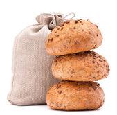 Måltid säck och bröd rullar stilleben cutout — Stockfoto