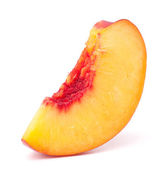 Nectarine fruit segment isolated on white background cutout — Stock Photo