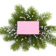 Christmas decoration with greeting card  — Foto Stock