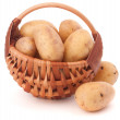 Stock Photo: Potato tuber in wicker basket isolated on white background