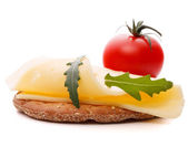 Cheese sandwich isolated on white background cutout  — Stock Photo