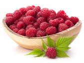 Raspberries in wooden bowl  — Stock Photo