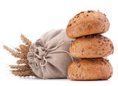Meal sack, bread rolls and ears — Stock Photo