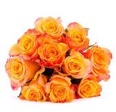 Buquê de flor rosa amarela isolado no recorte de fundo branco — Fotografia Stock
