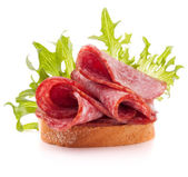 Sandwich with salami sausage — Stock Photo