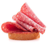 Sandwich with salami sausage on white background  cutout — Stock Photo