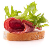 Sandwich with salami sausage — Stock Photo