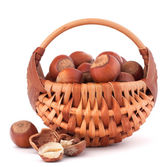 Hazelnuts in wicker basket — Stock Photo