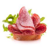 Sandwich with salami — Stock Photo