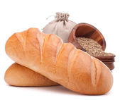 Bread, flour sack and grain — Stock Photo
