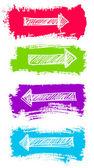 Vektör oklar ve grunge renk fırça seti — Stok Vektör