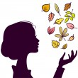 Beautiful Girl Dark Silhouette. Young Woman with Autumn Color Le — Stock Vector