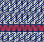 Style Seamless Marine Blue White Red Color Knitted Vector Patter — Cтоковый вектор