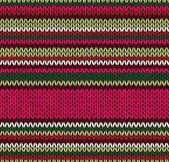 スタイルのシームレスなニット パターン。赤い緑白ピンク illus — ストックベクタ