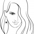 Stock Vector: Girl Face with Beautiful Hair, Vector Sketch