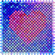 Red color halftone heart shape — 图库矢量图片