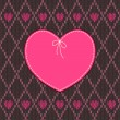 Vintage Heart Shape Design with Knitted Pattern - Image vectorielle
