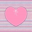 Vector de stock : Vintage Card. Heart Shape Design with Knitted Pattern