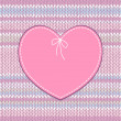 Cтоковый вектор: Vintage Card. Heart Shape Design with Knitted Pattern