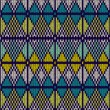Style Seamless Knitted Pattern.Blue White Yellow Color Illustrat — Stockvectorbeeld