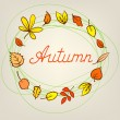 Autumn abstract background with circle from colorful leafs — Stock Vector
