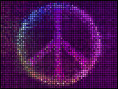 Peace Sign Multicolor abstract lights background. Square pixel m — Stock Vector