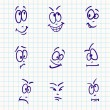 Emotion, vector set of nine face on notebook paper — Stock Vector